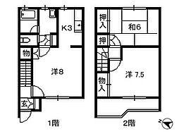 千葉県船橋市薬円台の賃貸アパートの間取り