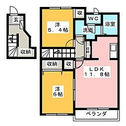 ドゥ−コワン[2階]の間取り