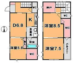 [一戸建] 京都府木津川市州見台8丁目 の賃貸【/】の間取り