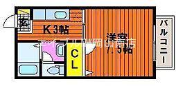 岡山県玉野市宇野4の賃貸アパートの間取り