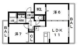 レフィナードカルチェD棟[202号室号室]の間取り
