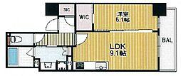 ブランズタワー・ウェリス心斎橋SOUTH[6階]の間取り