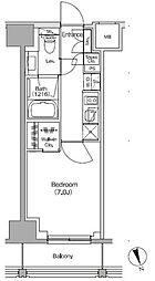 JR総武線 飯田橋駅 徒歩4分の賃貸マンション 6階1Kの間取り