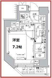 レアライズ浅草IV 6階1Kの間取り