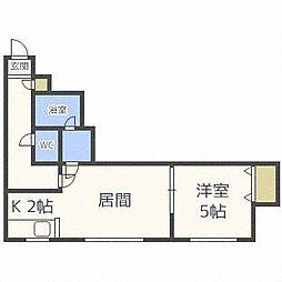 北海道札幌市北区新琴似六条1丁目の賃貸アパートの間取り