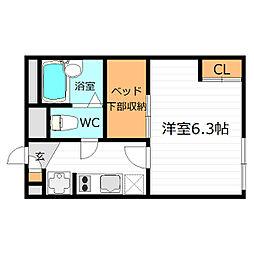 大阪府東大阪市横枕西の賃貸アパートの間取り