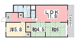 兵庫県姫路市辻井8丁目の賃貸マンションの間取り
