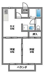 神奈川県相模原市南区旭町の賃貸アパートの間取り