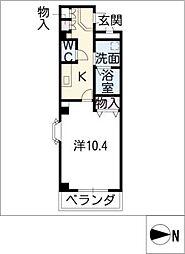 愛知県東海市富木島町伏見1丁目の賃貸マンションの間取り
