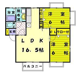 サンシャイン三苫3B[2階]の間取り