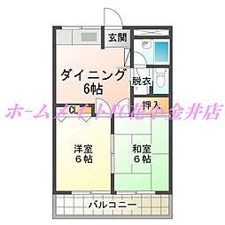 東京都西東京市新町3丁目の賃貸アパートの間取り