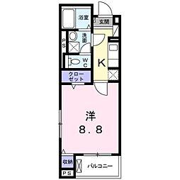 プロムナード桂川 2階1Kの間取り