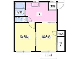 コーポヴィラ上村B棟[2階]の間取り