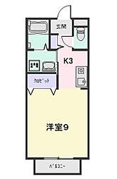 メゾンソリアードI・II[1-H号室]の間取り