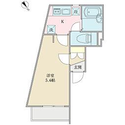 リーヴェルポート横浜ActI 1階ワンルームの間取り