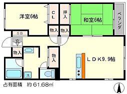 レジディア太秦[1階]の間取り