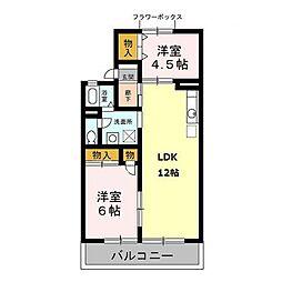ワコーハイツA[2階]の間取り