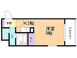 f maison teine 7階1Kの間取り
