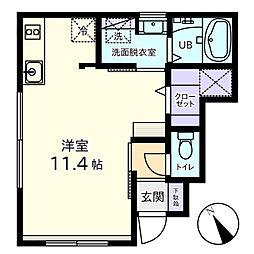 Vivo3 1階ワンルームの間取り