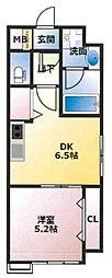 (仮)東古松4丁目マンション 5階1DKの間取り