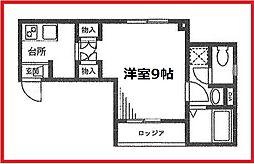 東京メトロ日比谷線 三ノ輪駅 徒歩10分の賃貸マンション 2階1Kの間取り