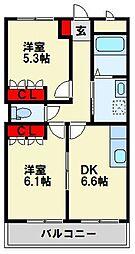 福岡県中間市長津3丁目の賃貸アパートの間取り