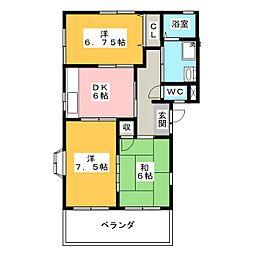 かしの木ハイツ B棟[1階]の間取り