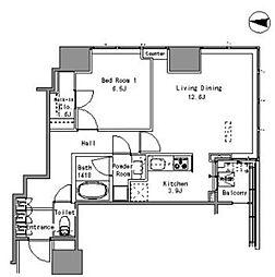 JR山手線 浜松町駅 徒歩3分の賃貸マンション 2階1LDKの間取り