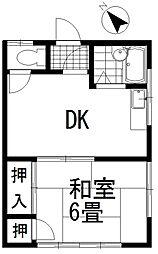 石橋荘[201号室号室]の間取り