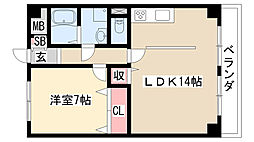 愛知県名古屋市天白区池場4の賃貸マンションの間取り