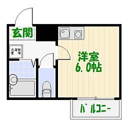 シエルコート綾瀬 4階1Kの間取り