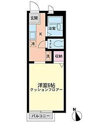 東京都大田区北千束2丁目の賃貸アパートの間取り