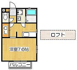 京都府京都市伏見区深草瓦町の賃貸アパートの間取り