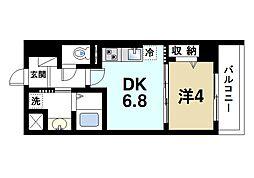 JR関西本線 奈良駅 徒歩4分の賃貸マンション 5階1DKの間取り