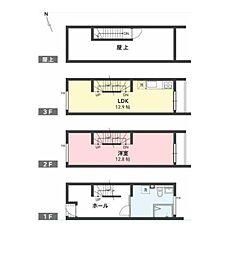 東京メトロ日比谷線 広尾駅 徒歩14分の賃貸テラスハウス 1階1LDKの間取り