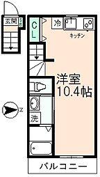 東京都日野市日野本町7丁目の賃貸アパートの間取り