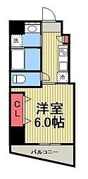 都営三田線 芝公園駅 徒歩2分の賃貸マンション 2階1Kの間取り
