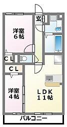千葉県習志野市奏の杜3丁目の賃貸アパートの間取り