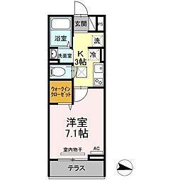 JR福塩線 万能倉駅 徒歩15分の賃貸アパート 1階1Kの間取り