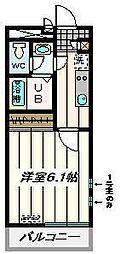 JR埼京線 武蔵浦和駅 徒歩9分の賃貸マンション 2階1Kの間取り