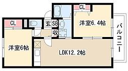 愛知県名古屋市緑区大高町中ノ島の賃貸アパートの間取り