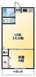 豊ハイツ 4階1LDKの間取り