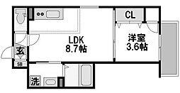 エフミライアルバ 2階1LDKの間取り