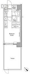 東京メトロ有楽町線 月島駅 徒歩1分の賃貸マンション 1階ワンルームの間取り