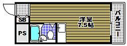 狭山ハイツ 3階ワンルームの間取り
