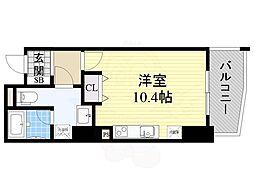 エトワール北新地 8階ワンルームの間取り
