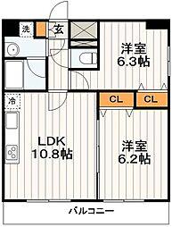 東京メトロ日比谷線 南千住駅 徒歩6分の賃貸マンション 11階2LDKの間取り