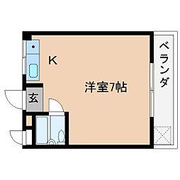 近鉄大阪線 桜井駅 徒歩2分の賃貸マンション 3階ワンルームの間取り