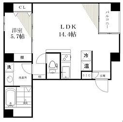 ライジングプレイス月島[4階]の間取り
