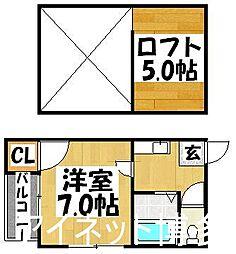 福岡県福岡市博多区神屋町の賃貸アパートの間取り